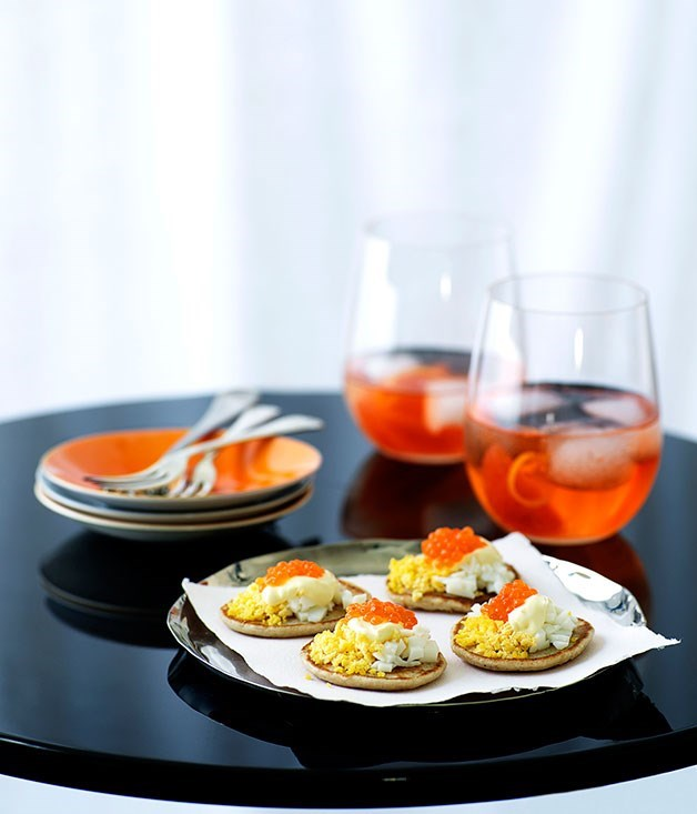 "[**Blini with salmon roe**](https://www.gourmettraveller.com.au/recipes/browse-all/blini-with-salmon-roe-9892|target=""_blank"")"