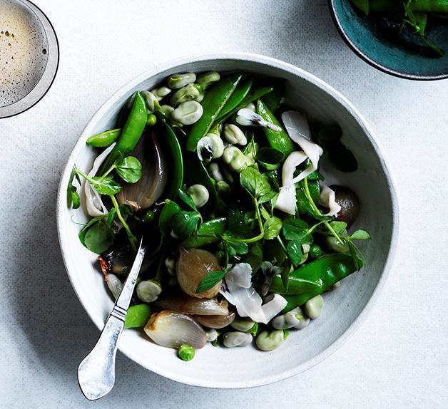 Pea, bean and shallot salad