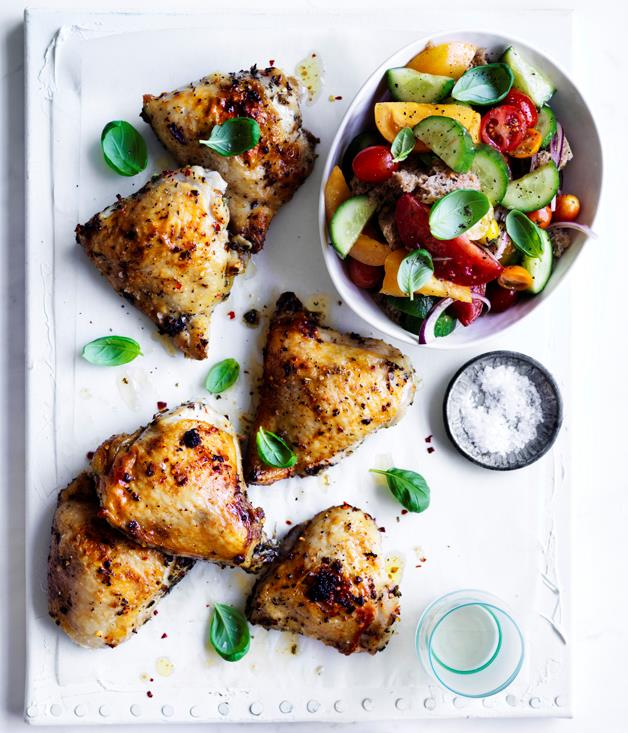 "**[Roast chicken thighs with sourdough panzanella](http://www.gourmettraveller.com.au/recipes/fast-recipes/roast-chicken-thighs-with-sourdough-panzanella-13862|target=""_blank"")**"