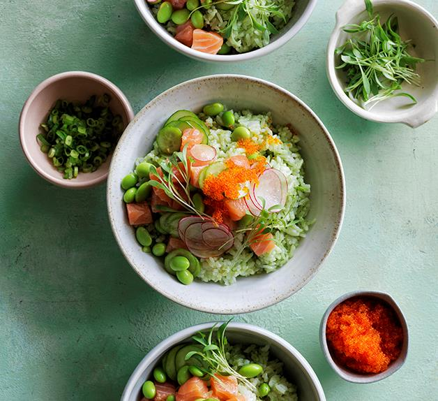 Ocean trout poke on matcha rice