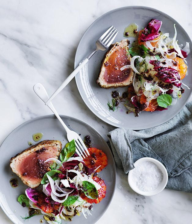 Grilled tuna with blood orange, fennel and black olive dressing