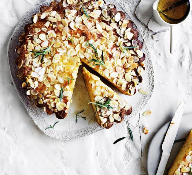 Ricotta-polenta cake with lemon-rosemary syrup