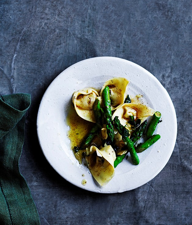 Prosciutto and parmesan cappellacci with brown butter and asparagus