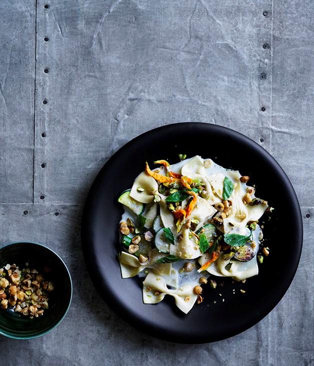 Farfalle with Gorgonzola fonduta, zucchini, basil and toasted nuts
