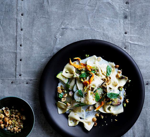 Farfalle with Gorgonzola fonduta, zucchini, basil and toasted nuts
