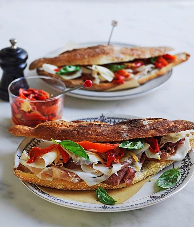 Prosciutto, peperonata and provolone rolls