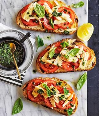 Preserved tuna and tomato open-faced panini