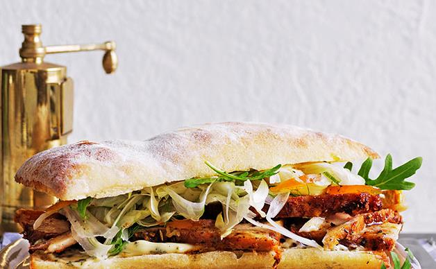 Porchetta panini with fennel and mustard fruits