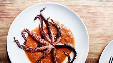 Baby octopus with 'nduja dressing