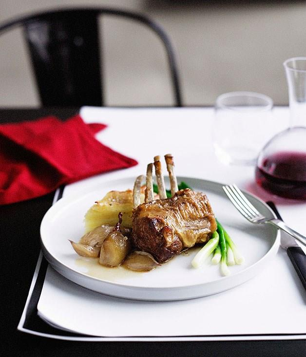 "[**Braised lamb rack with Roquefort potato gratin and baby leeks**](https://www.gourmettraveller.com.au/recipes/chefs-recipes/braised-lamb-rack-with-roquefort-potato-gratin-and-baby-leeks-8884|target=""_blank"")"