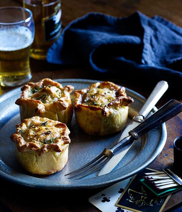 "[**Beef, Stilton and suet pies**](https://www.gourmettraveller.com.au/recipes/chefs-recipes/beef-stilton-and-suet-pies-7585|target=""_blank"")"