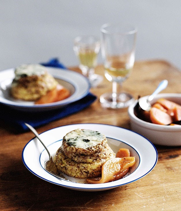 **Twice-baked Roquefort soufflé with Sauternes-poached quince**