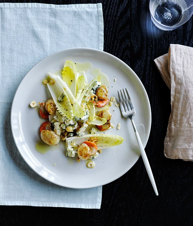 "[**Damien Pignolet's salad of grilled scallops, witlof, Roquefort and hazelnuts**](https://www.gourmettraveller.com.au/recipes/chefs-recipes/damien-pignolets-salad-of-grilled-scallops-witlof-roquefort-and-hazelnuts-8508|target=""_blank"")"