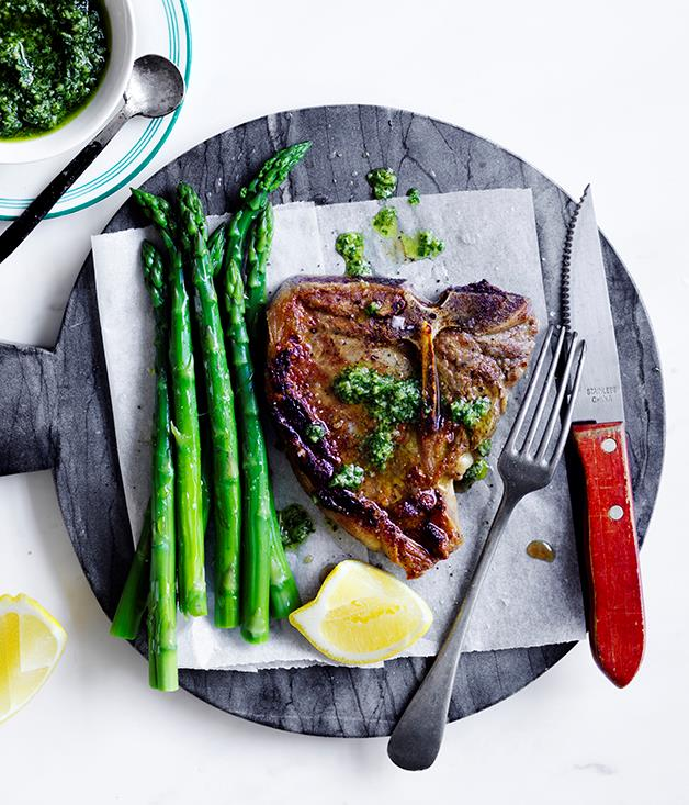 """[**Bistecca with asparagus and salsa dragoncello**](http://www.gourmettraveller.com.au/recipes/fast-recipes/bistecca-with-asparagus-and-salsa-dragoncello-13861