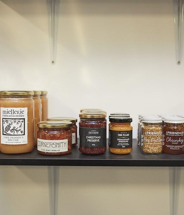 **Top-shelf condiments** Miellerie honey, Cornersmith marmalade, Jocelyn's Provisions preserve, Four Pillars marmalade, J Friend & Co bee pollen and honey.