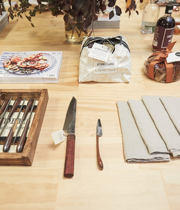 **CHEF'S PICK** Dogboy hand-forged steak and cheese knives, nominated by _GT_ Restaurant of the Year chef Jock Zonfrillo (Orana) alongside new Tow and Line linen napery, nominated by chef Danielle Alvarez (Fred's).