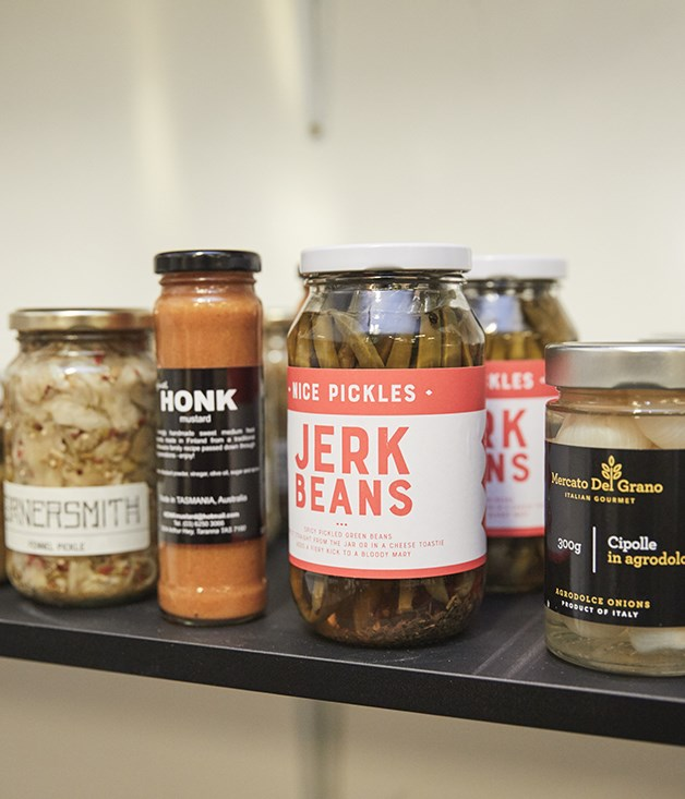 **For the table** Cornersmith pickled fennel, Honk mustard, Nice Pickles jerk beans, Mercato del Grano cipolle in agrodolce.