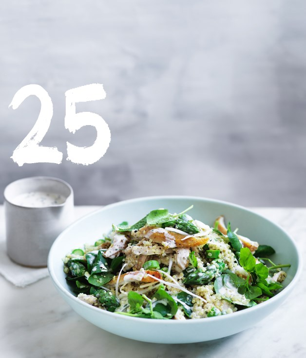"**[Chicken salad with asparagus and quinoa](https://www.gourmettraveller.com.au/recipes/fast-recipes/chicken-salad-with-asparagus-and-quinoa-13848|target=""_blank"")**"