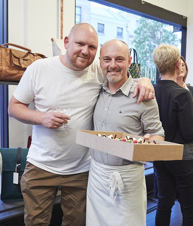 **Friends and supporters** Chef Monty Koludrovic (Icebergs Dining Room & Bar, The Dolphin) with Nic Poelaert (Choux Pâtisserie).