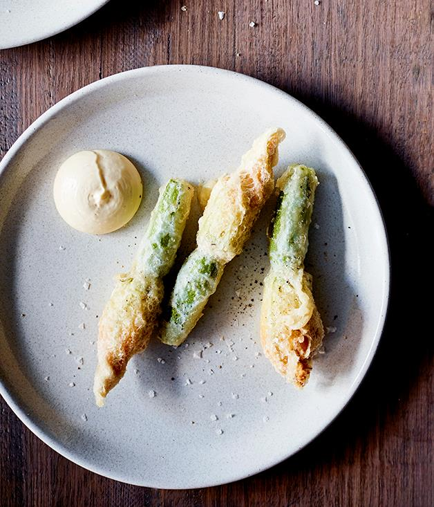 "[Andreas Papadakis's (Osteria Ilaria) zucchini flowers stuffed with almond purée and aïoli](https://www.gourmettraveller.com.au/recipes/chefs-recipes/zucchini-flowers-stuffed-with-almond-puree-and-aioli-8629|target=""_blank"")"