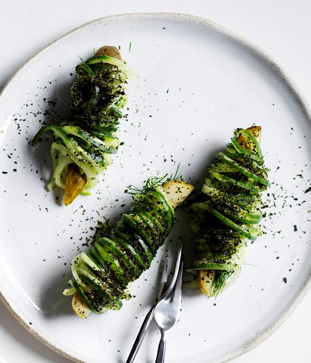 "**[Mat Lindsay's pickled and fresh cucumber](https://www.gourmettraveller.com.au/recipes/chefs-recipes/pickled-and-fresh-cucumber-15541|target=""_blank"")**"
