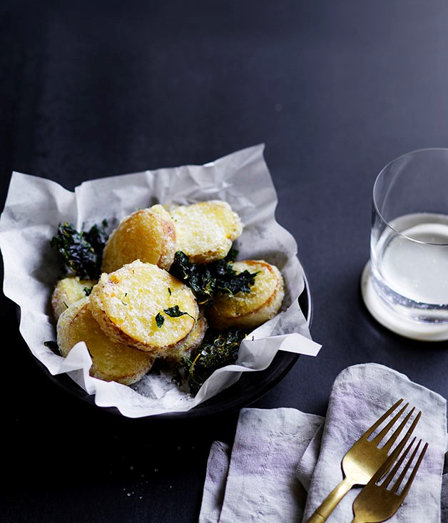 "[Potato scallops](http://www.gourmettraveller.com.au/recipes/chefs-recipes/potato-scallops-8638|target=""_blank"")"