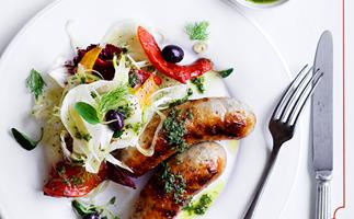 Grilled pork sausages with fennel, radicchio and roasted capsicum
