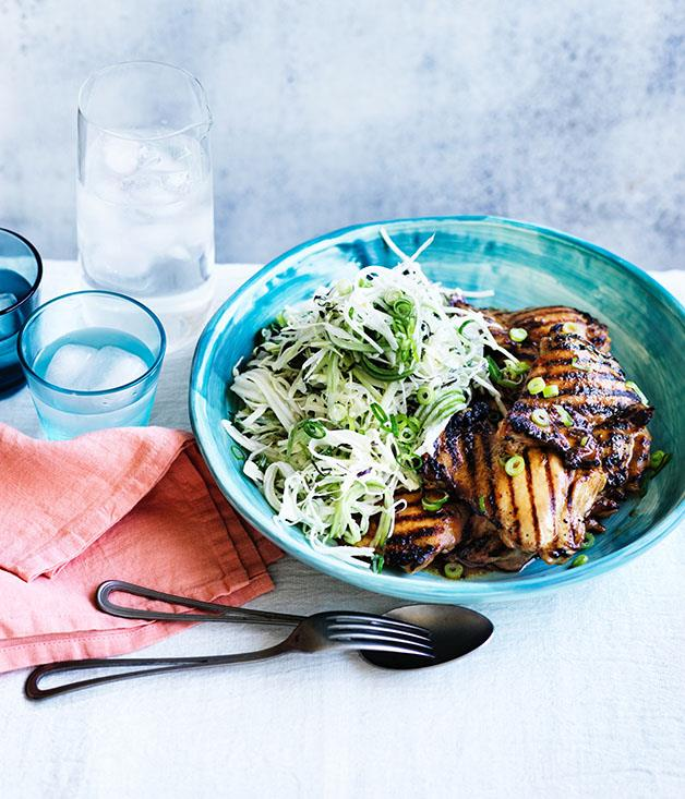 "**[Chicken teriyaki with wasabi slaw](http://www.gourmettraveller.com.au/recipes/fast-recipes/chicken-teriyaki-with-wasabi-slaw-13867|target=""_blank"")**"