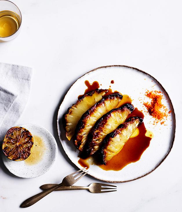 "[Poly's roasted pineapple with chilli salt](https://www.gourmettraveller.com.au/recipes/chefs-recipes/roasted-pineapple-with-chilli-salt-8636|target=""_blank"")"