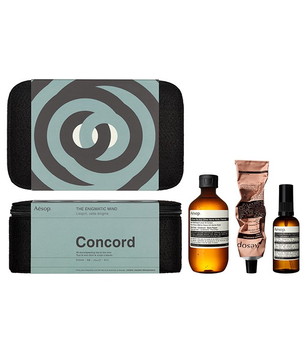 **Aesop Concord Gift Kit** This Christmas, Aesop celebrates a beautiful mind, as well as beautiful skin. Paying homage to behavioural studies from the '50s, '60s and '70s, the Concord Gift Kit references the Robber Cave Experiment, exploring how to restore harmony when social situations go awry. Filled with three harmonious products that offer top-to-toe care, it's a great gift for any deep thinkers.  _$70, [aesop.com/au](https://www.aesop.com/au/p/kits-travel/seasonal-gift-kits/concord/)_
