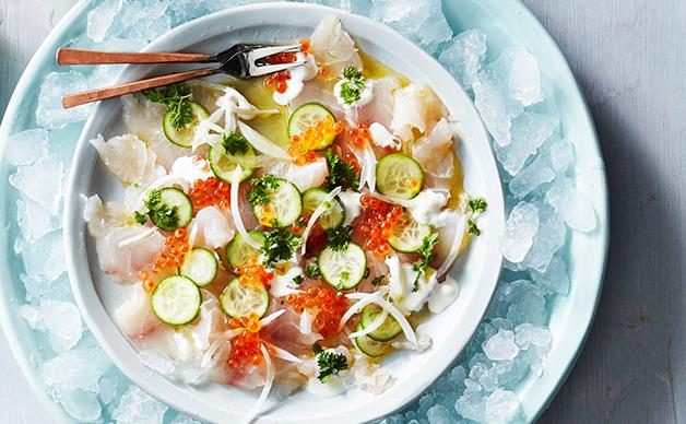 Snapper crudo with roe and cucumber