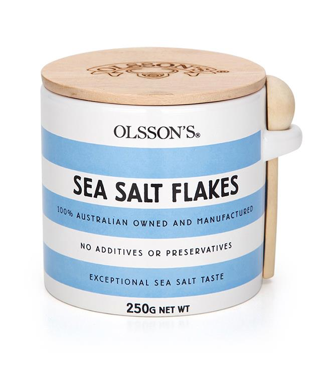 **Olsson's Sea Salt Flakes** Looking for a small gift that won't leave the recipient feeling salty? This is it. The Olsson family has been making solar sea salt since the 1960s. They're the oldest family-owned-and-operated sea salt producer in Australia. Translation: they're good.  _$23; [olssons.com.au](https://www.olssons.com.au/store/p186/OLSSON%E2%80%99S_SEA_SALT_FLAKES_STONEWARE_JARS_250g_.html) or purchase through our [GT x STILY pop-up Christmas boutique](http://sorrythanksiloveyou.com/smoked-salt), open until 24 December._