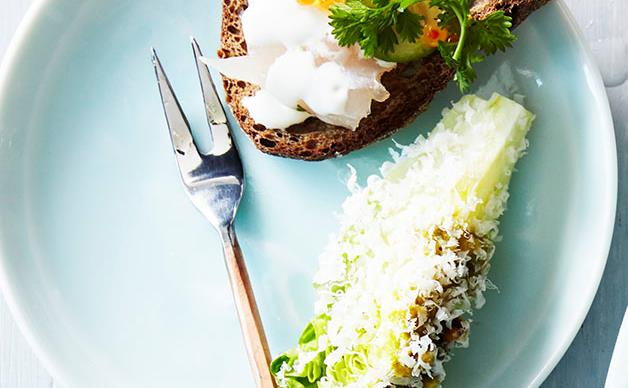 Baby lettuce hearts with pistachio dressing and parmesan