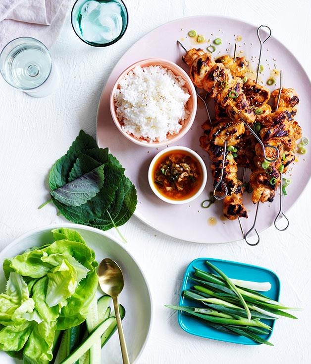 "**[Chicken ssäm skewers](https://www.gourmettraveller.com.au/recipes/browse-all/chicken-ssam-skewers-12925|target=""_blank"")**"