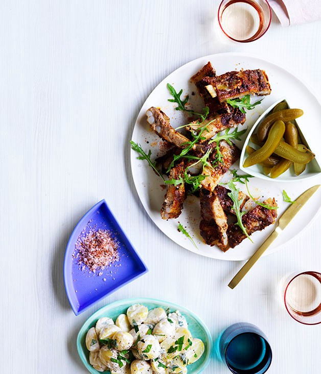 Pastrami-spiced pork ribs with potato salad and pickles