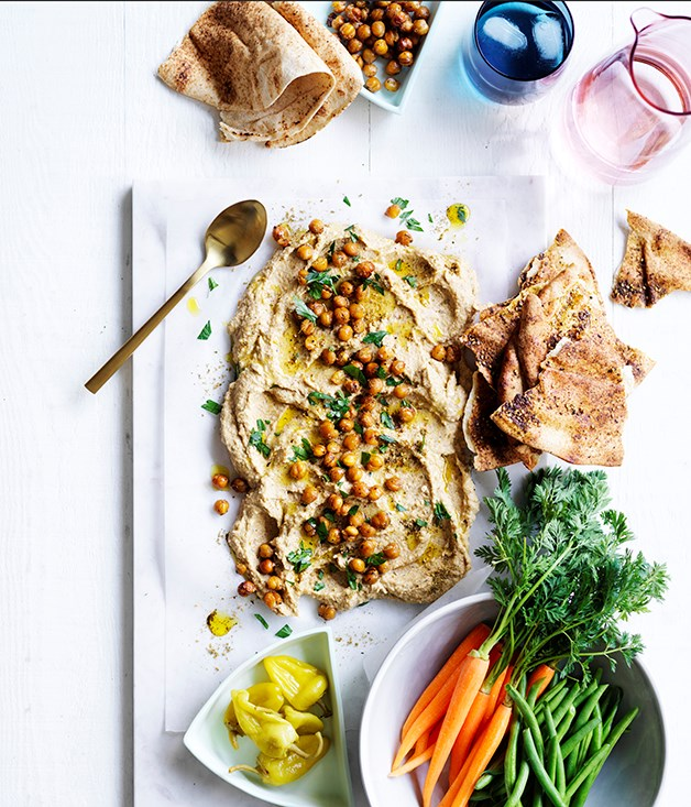 Roasted cauliflower and tahini dip with crudites and flatbread