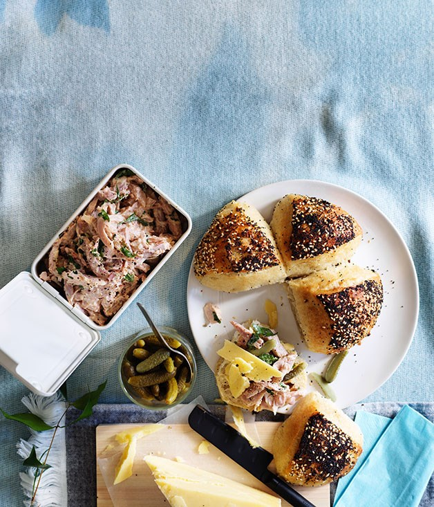 "[Devilled ham with cornichons and cheddar](http://www.gourmettraveller.com.au/recipes/browse-all/devilled-ham-with-cornichons-and-cheddar-12924|target=""_blank"")"