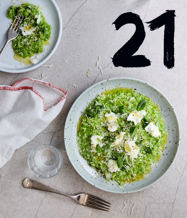 "**[Pea risotto with buffalo mozzarella and spring herbs](https://www.gourmettraveller.com.au/recipes/chefs-recipes/pea-risotto-with-buffalo-mozzarella-and-spring-herbs-9328|target=""_blank"")**"