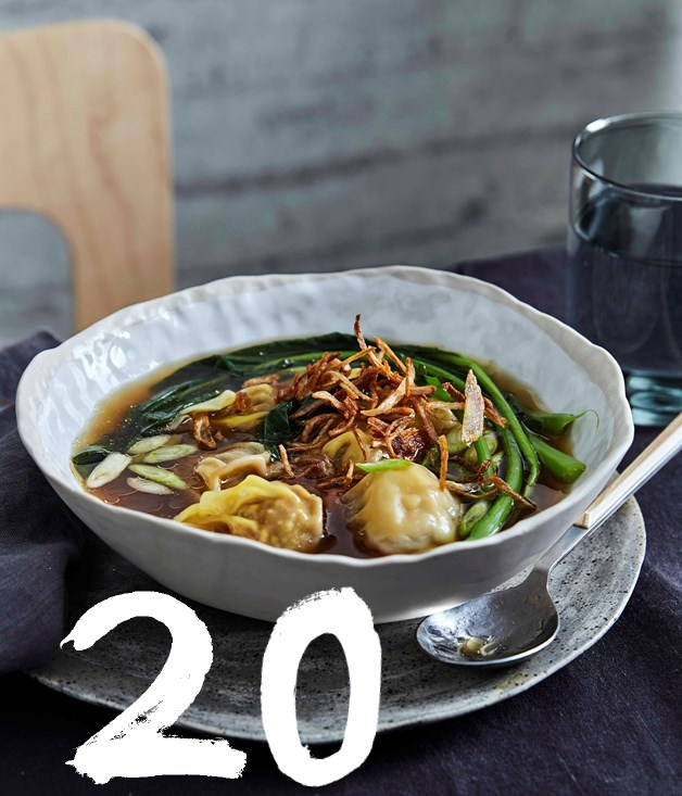 "**[Shobosho's chicken and prawn wontons, chicken dashi and Chinese broccoli](https://www.gourmettraveller.com.au/recipes/chefs-recipes/shoboshos-chicken-and-prawn-wontons-chicken-dashi-and-chinese-broccoli-9325|target=""_blank"")**"