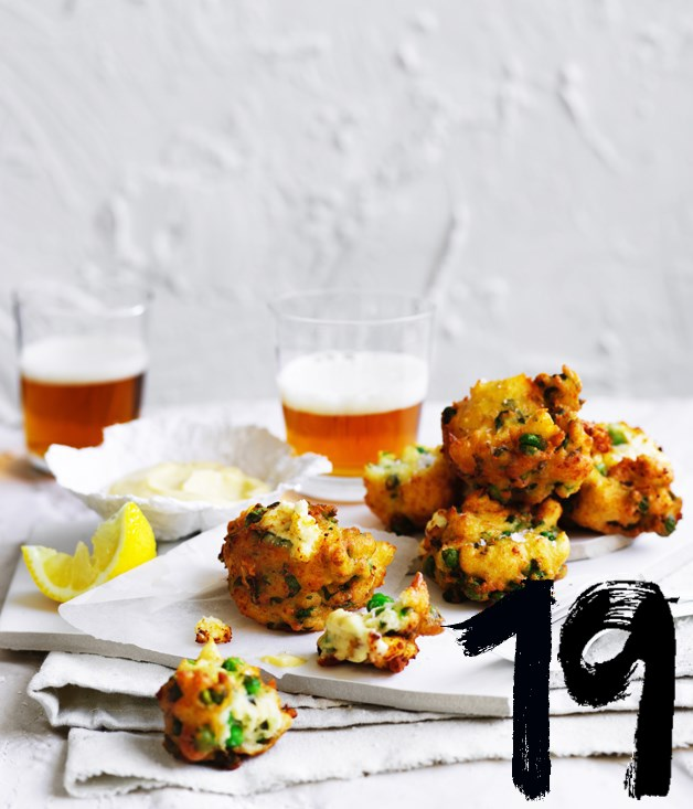 "**[Pea and ricotta frittelle](https://www.gourmettraveller.com.au/recipes/browse-all/pea-and-ricotta-frittelle-12878|target=""_blank"")**"