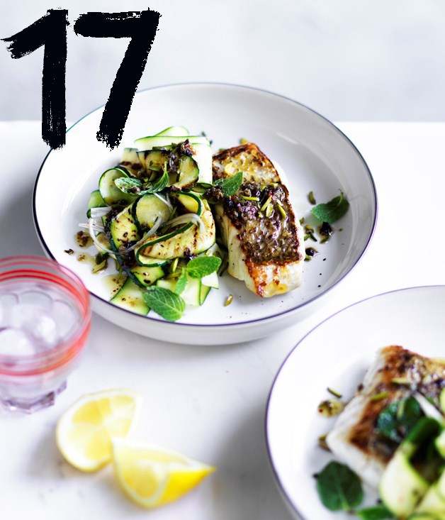 "**[Sicilian snapper with zucchini, mint and pistachio nuts](https://www.gourmettraveller.com.au/recipes/fast-recipes/sicilian-snapper-with-zucchini-mint-and-pistachio-nuts-13863|target=""_blank"")**"