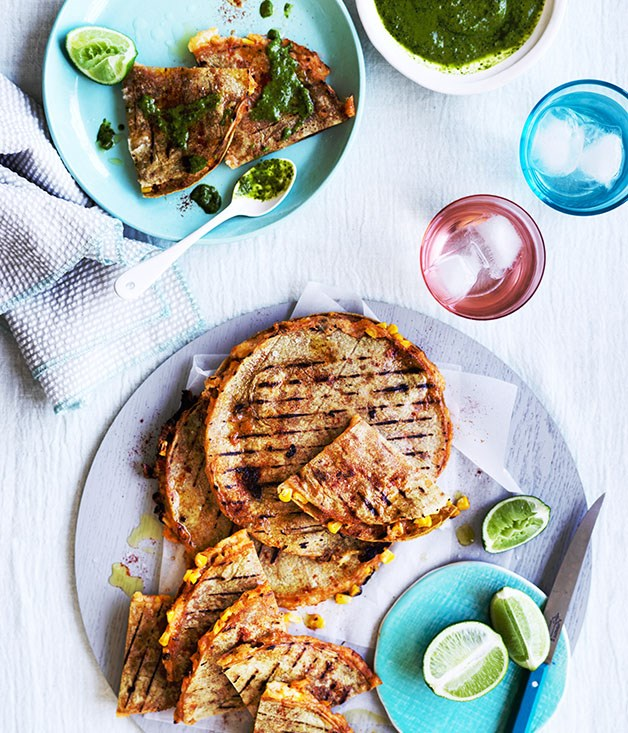 Corn and potato quesadillas with green salsa