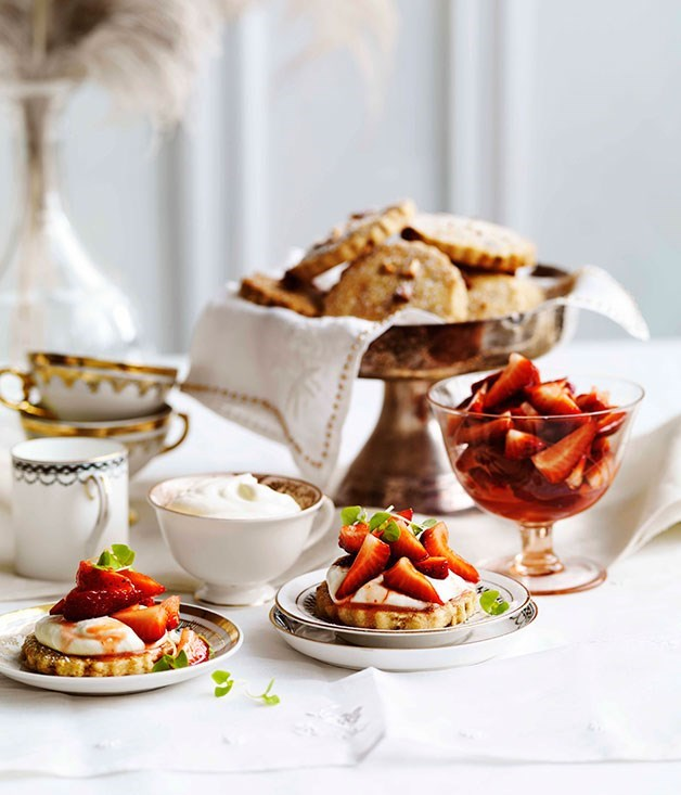 **Strawberry and almond shortcakes with cassis cream**