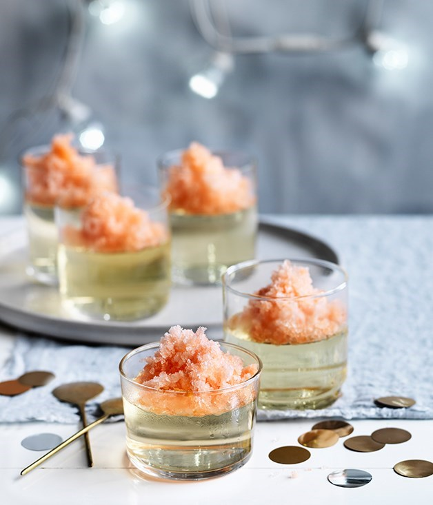 "[**Prosecco jellies with Aperol granita**](https://www.gourmettraveller.com.au/recipes/browse-all/prosecco-jellies-with-aperol-granita-12682|target=""_blank"")<br><br> This is the perfect do-ahead dessert: the jellies keep for five days, as will the granita. Despite its simplicity, it delivers big on both flavour and refreshment."