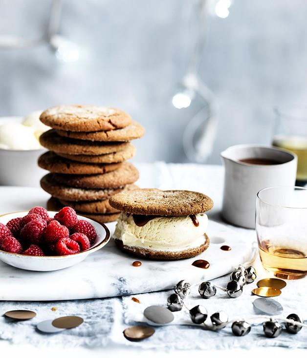 "[**Ginger biscuit ice-cream sandwiches with whisky caramel**](https://www.gourmettraveller.com.au/recipes/browse-all/ginger-biscuit-ice-cream-sandwiches-with-whisky-caramel-12668|target=""_blank"")<br><br> Soft chewy ginger biscuits make the perfect vehicle for scoops of ice-cream, while a glossy whisky-spiked caramel sauce adds lushness. Both the biscuits and sauce can be made well ahead."