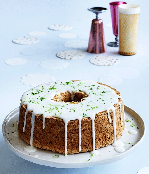 **Lime and coconut angel food cake with pineapple-gin glaze**