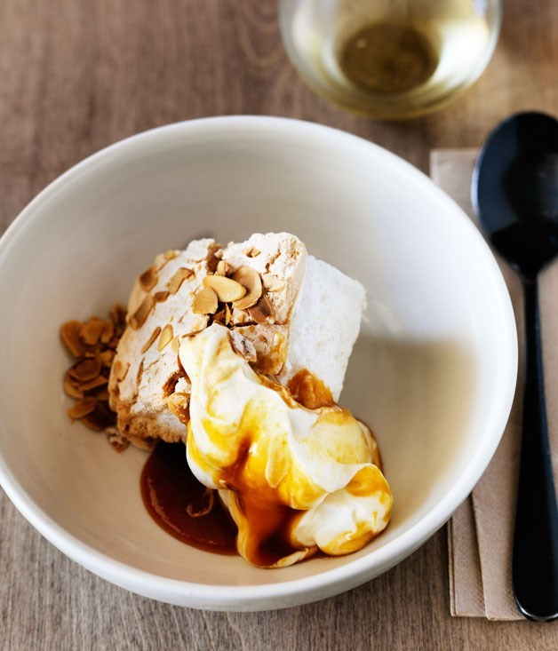 **Saint Peter's almond meringue with white peach caramel**