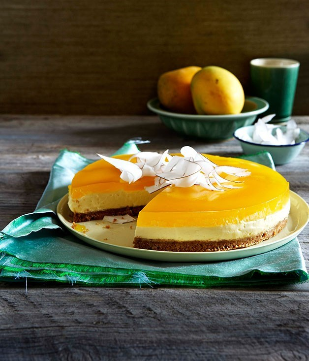 "[**Mascarpone and coconut cake with mango jelly**](https://www.gourmettraveller.com.au/recipes/browse-all/mascarpone-and-coconut-cake-with-mango-jelly-9899|target=""_blank"")<br><br> Here, a luscious mascarpone-based cheesecake switches the traditional fruit toppings for a layer of mango jelly. It's summery, light and a real crowd-pleaser."