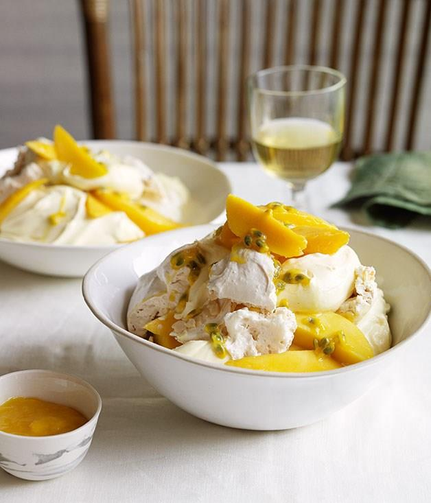"[**Mango and passionfruit mess**](https://www.gourmettraveller.com.au/recipes/browse-all/mango-and-passionfruit-mess-11858|target=""_blank"")<br><br> If the thought of baking meringues is a bridge too far in the summer heat, by all means buy them in. This tropical version of Eton mess will taste good either way."