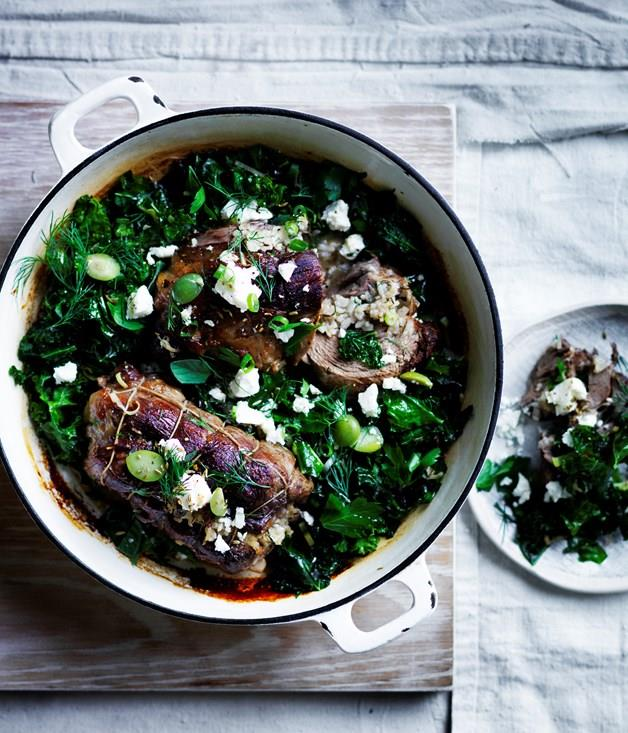 "[**Roast lamb neck with kale, feta and dill**](https://www.gourmettraveller.com.au/recipes/browse-all/roast-lamb-neck-with-kale-feta-and-dill-12577|target=""_blank"")"